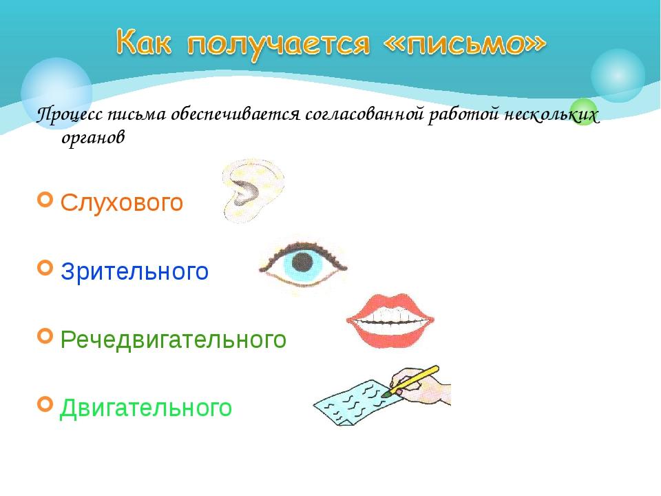 Процесс письма обеспечивается согласованной работой нескольких органов Слухов...
