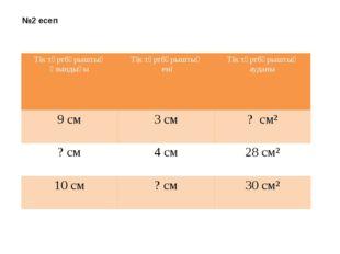 №2 есеп Тік төртбұрыштың ұзындығы Тік төртбұрыштың ені Тік төртбұрыштың аудан