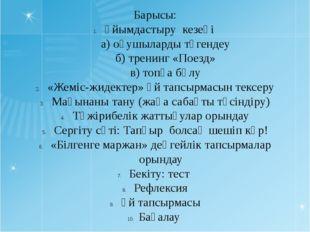 Барысы: Ұйымдастыру кезеңі а) оқушыларды түгендеу б) тренинг «Поезд» в) топқа