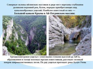 Северные склоны яйлинских массивов в ряде мест изрезаны глубокими долинами ве
