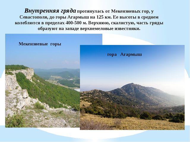 Внутренняя грядапротянулась от Мекензиевых гор, у Севастополя, до горы Агарм...