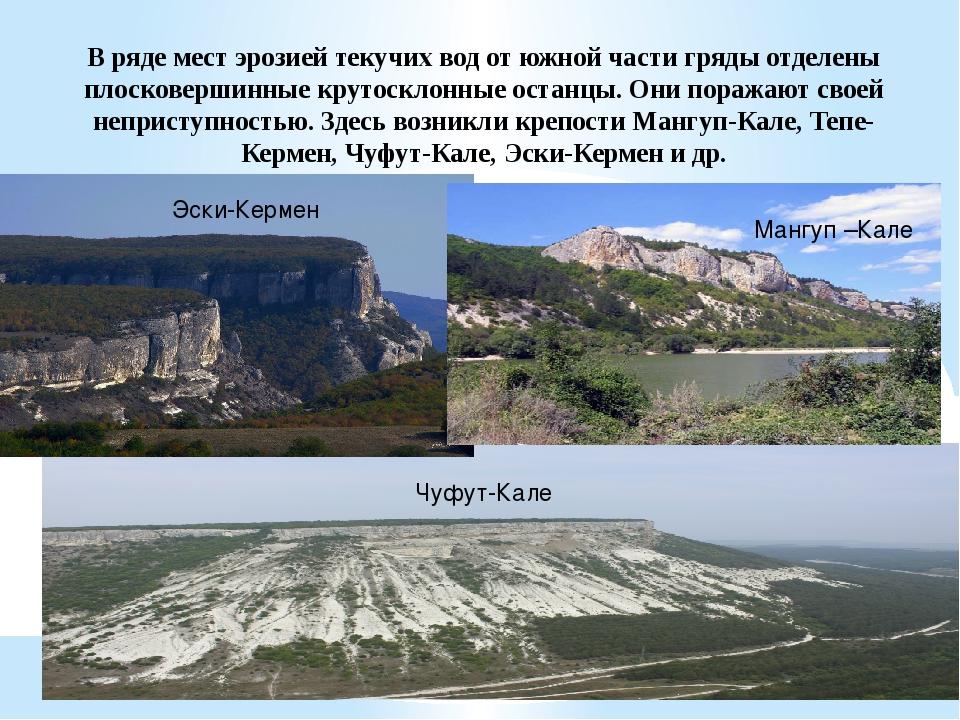 В ряде мест эрозией текучих вод от южной части гряды отделены плосковершинные...