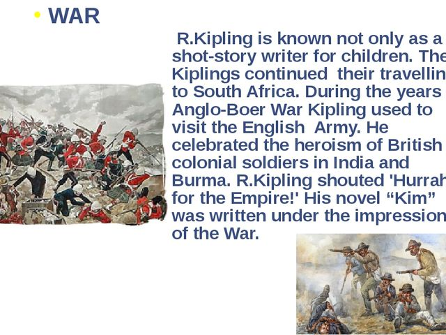 R.Kipling is known not only as a shot-story writer for children. The Kipling...