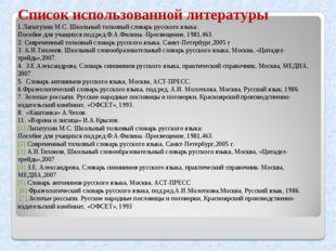Список использованной литературы 1.Лапатухин М.С. Школьный толковый словарь р