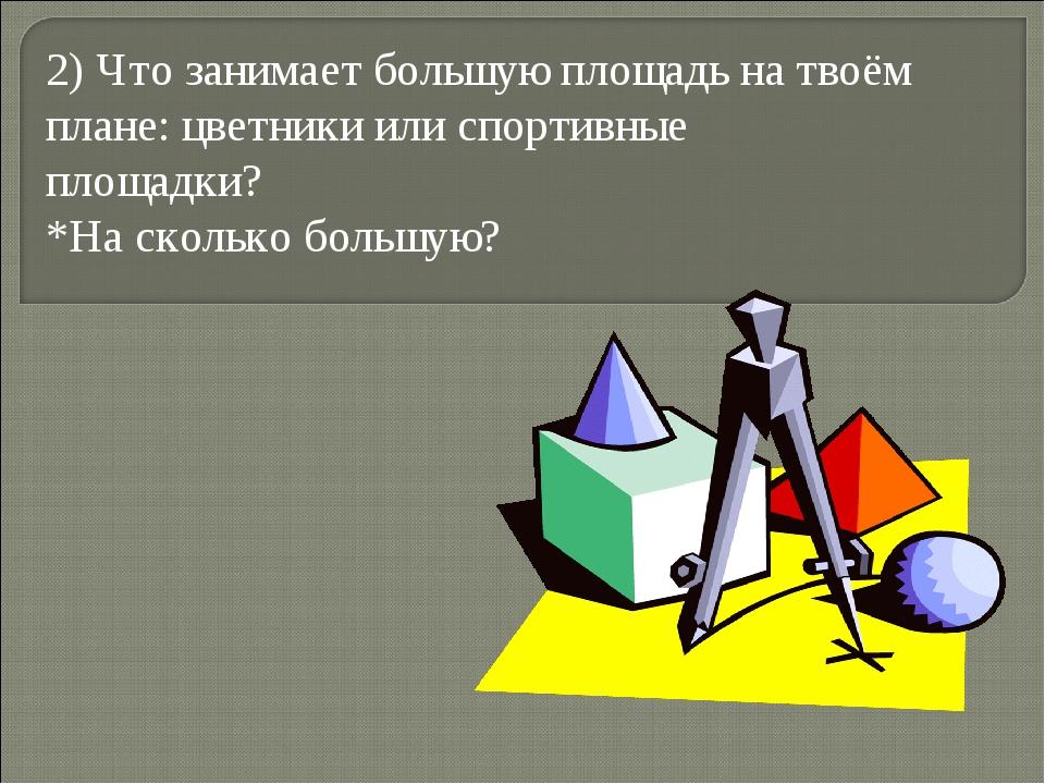 2) Что занимает большую площадь на твоём плане: цветники или спортивные площа...