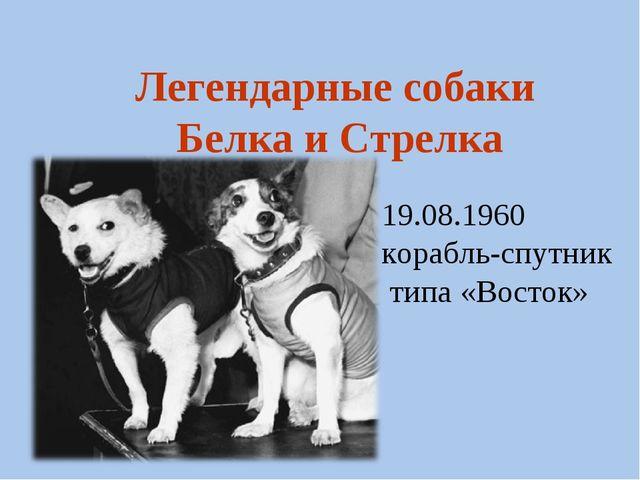 19.08.1960 корабль-спутник типа «Восток» Легендарные собаки Белка и Стрелка