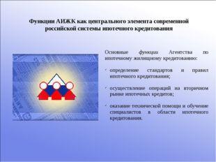 Функции АИЖК как центрального элемента современной российской системы ипотечн