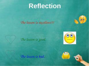 Reflection The lesson is excellent!!!  The lesson is good.  Th