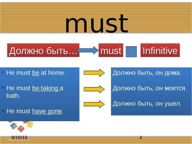 must Должно быть… must Infinitive He must be at home. He must be taking a bat...