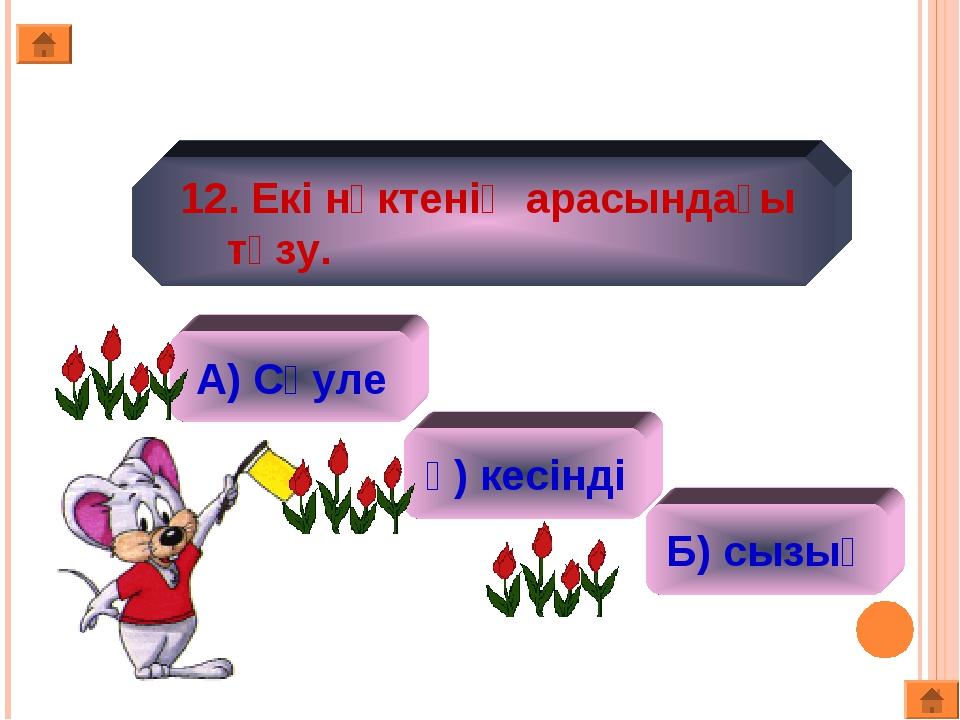 12. Екі нүктенің арасындағы түзу. А) Сәуле ә) кесінді Б) сызық