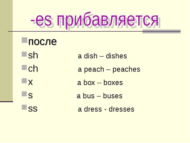 после sh a dish – dishes ch a peach – peaches x a box – boxes s a bus – buse...