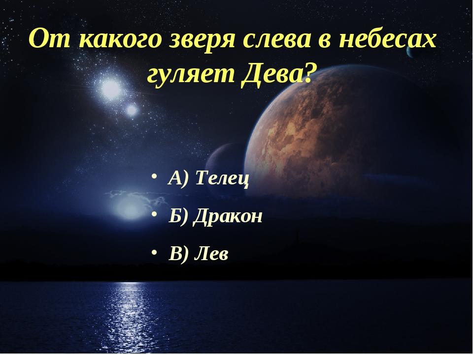 От какого зверя слева в небесах гуляет Дева? А) Телец Б) Дракон В) Лев