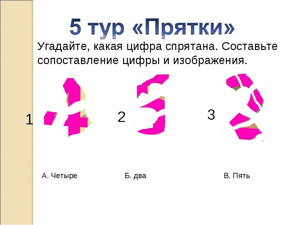 Угадайте, какая цифра спрятана. Составьте сопоставление цифры и изображения....