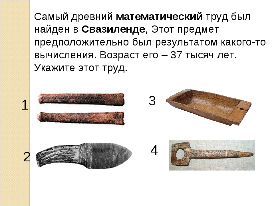 Самый древнийматематическийтруд был найден вСвазиленде, Этот предмет предп...
