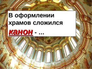 В оформлении храмов сложился канон - …