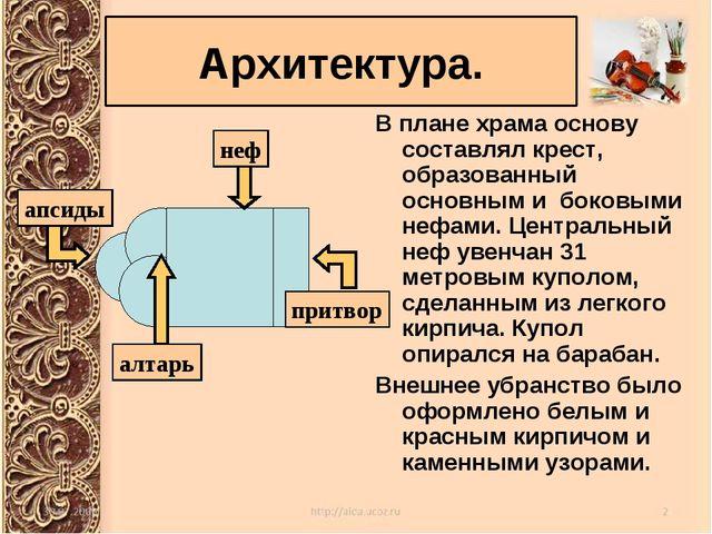 В плане храма основу составлял крест, образованный основным и боковыми нефами...