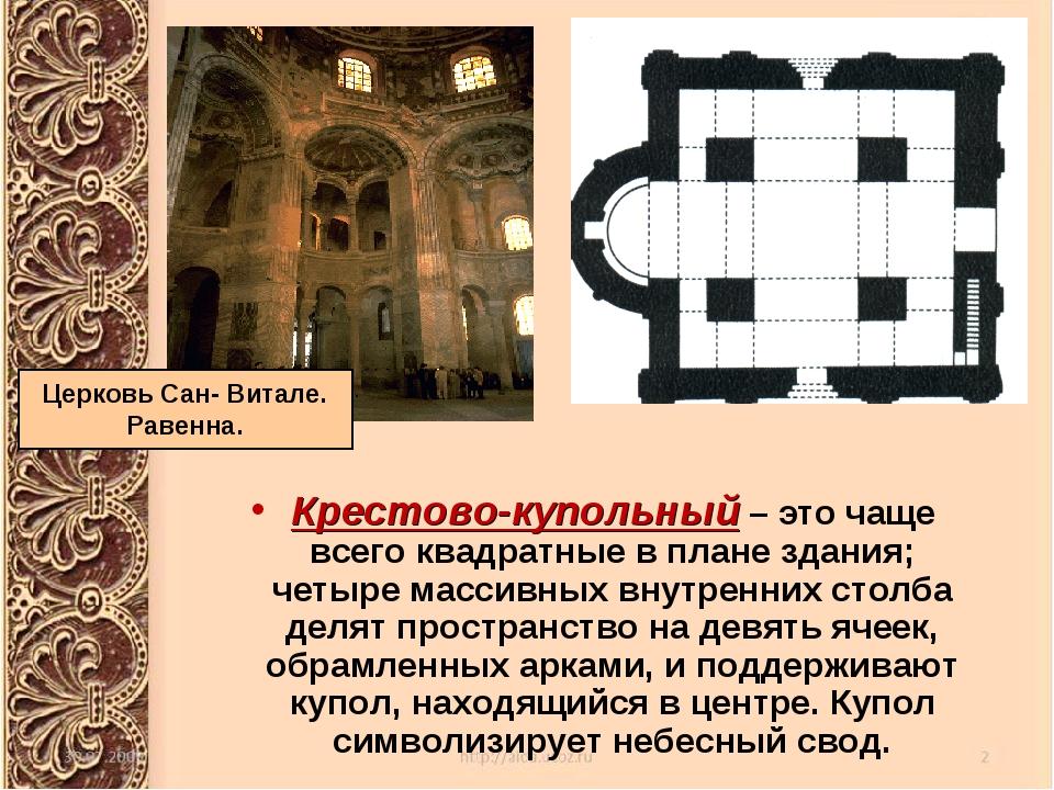 Крестово-купольный – это чаще всего квадратные в плане здания; четыре массивн...