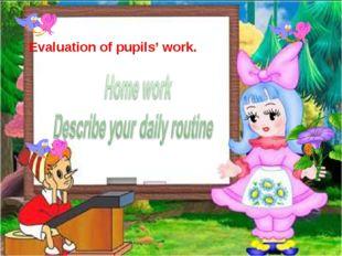 Evaluation of pupils' work.