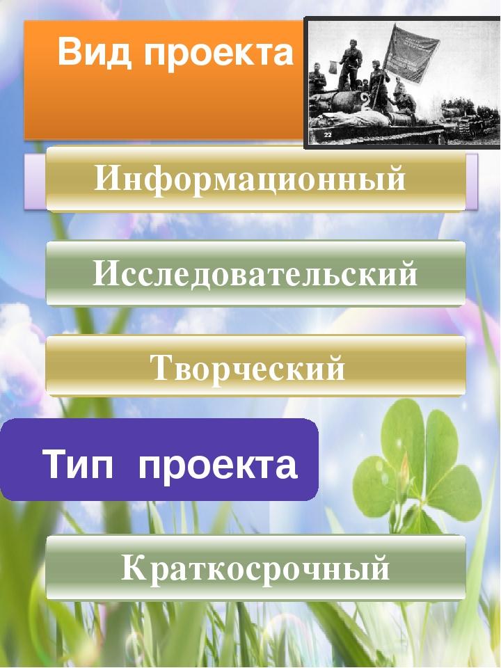 Тип проекта Информационный Творческий Исследовательский Краткосрочный Вид пр...
