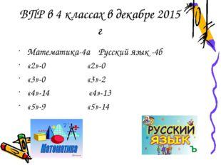 ВПР в 4 классах в декабре 2015 г Математика-4а Русский язык -4б «2»-0 «2»-0 «