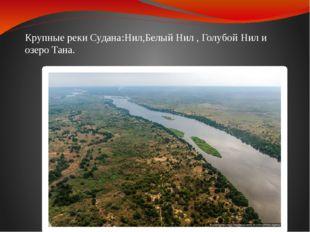 Крупные реки Судана:Нил,Белый Нил , Голубой Нил и озеро Тана.