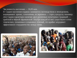 Численность населения — 30,89 млн . В Судане население издавна занимается ско
