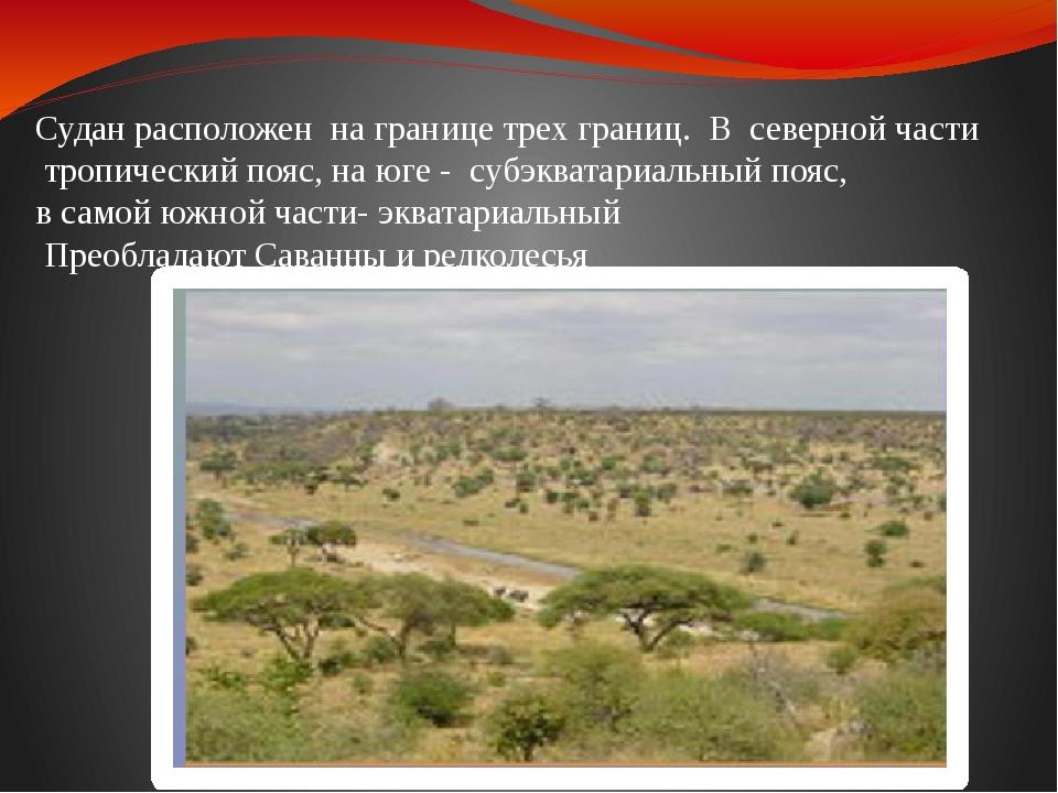Судан расположен на границе трех границ. В северной части тропический пояс, н...