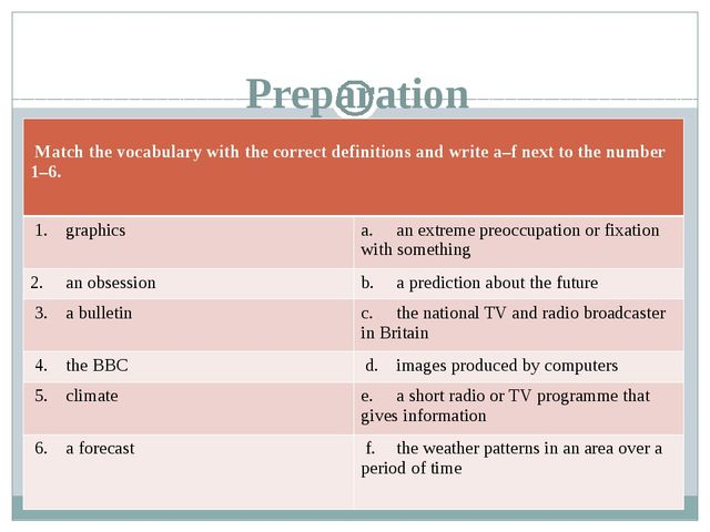 Preparation 	 Match the vocabulary with the correct definitions and write a–...
