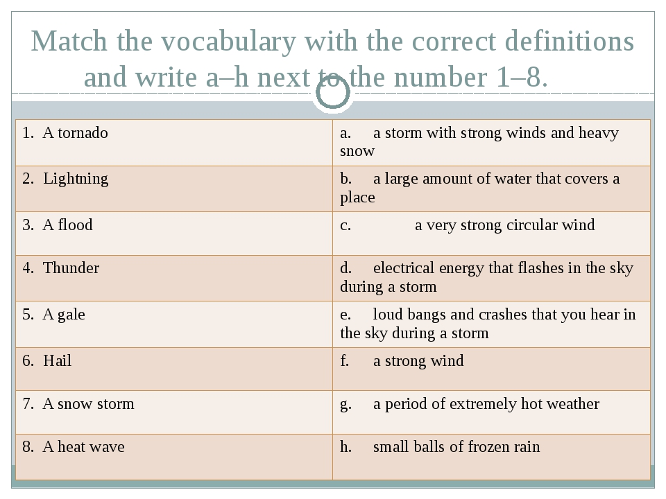 Match the vocabulary with the correct definitions and write a–h next to the n...