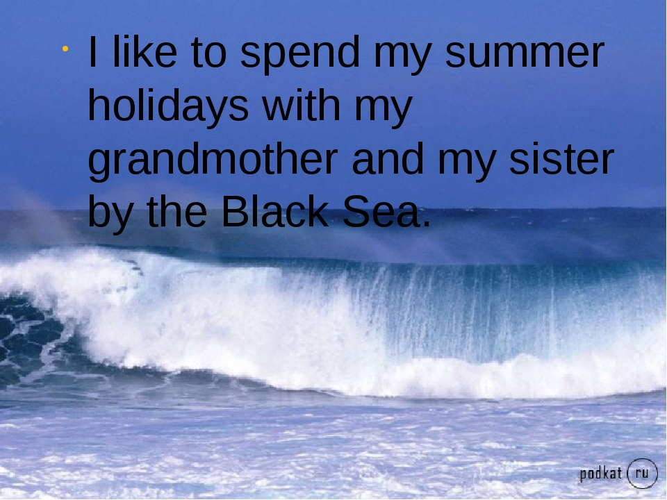 I like to spend my summer holidays with my grandmother and my sister by the B...