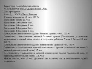 Территория Новосибирская область №, название ОУ МБОУ Дубровинская СОШ Дата п