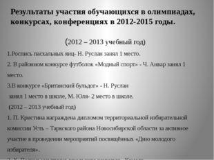 Результаты участия обучающихся в олимпиадах, конкурсах, конференциях в 2012-2