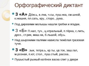 Орфографический диктант 3 «А» Дож.ь, в.лна, ч.сы, пуш.нка, см.шной, к.нюшня,