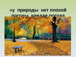 «у природы нет плохой погоды, каждая погода благодать»