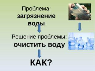 Проблема: загрязнение воды Решение проблемы: очистить воду КАК?