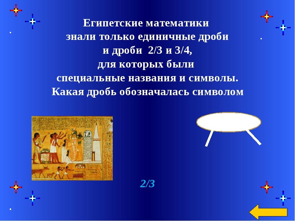 Египетские математики знали только единичные дроби и дроби 2/3 и 3/4, для ко...