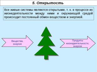Вещества, энергия 5. Открытость Все живые системы являются открытыми, т. к. в