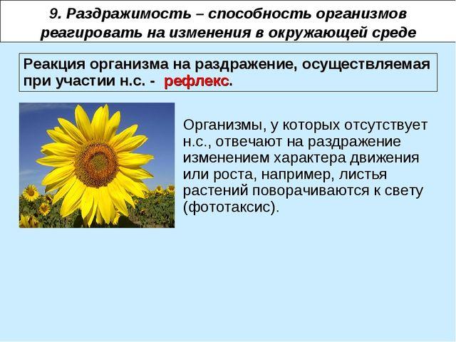 9. Раздражимость – способность организмов реагировать на изменения в окружающ...