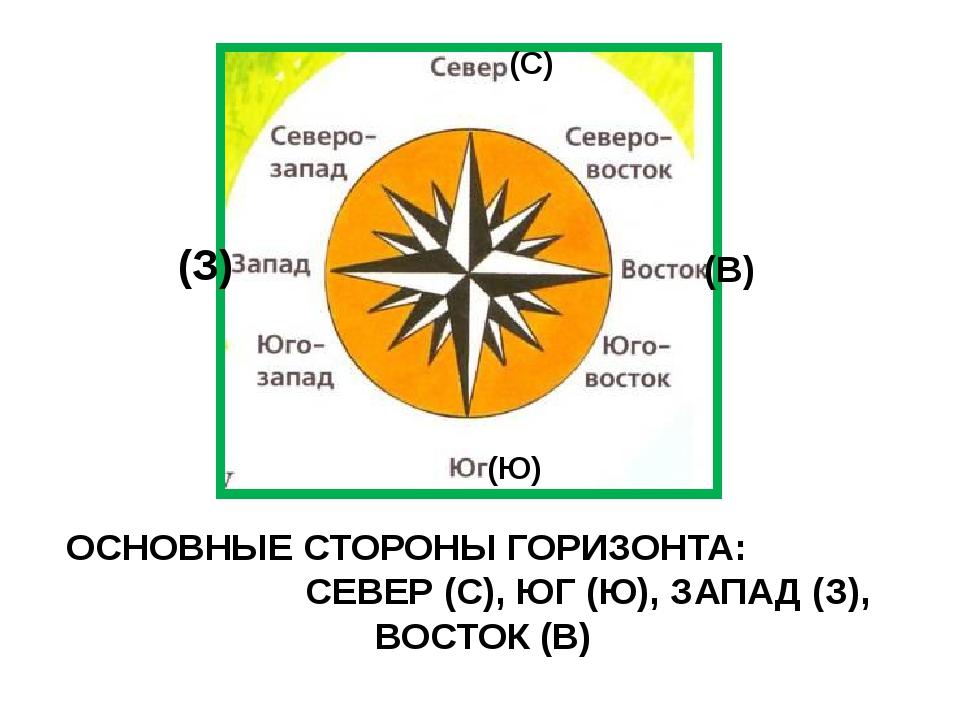 ОСНОВНЫЕ СТОРОНЫ ГОРИЗОНТА: СЕВЕР (С), ЮГ (Ю), ЗАПАД (З), ВОСТОК (В) (С) (Ю)...