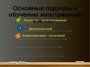 Основные подходы к обучению иностранным языкам: Личностно - ориентированный 1