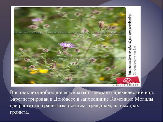 Висилек ложнобледночешуйчатый - редкий эндемический вид. Зарегистрирован в До...