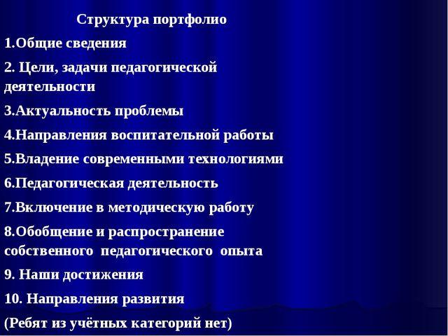 Структура портфолио Общие сведения Цели, задачи педагогической деятельности А...