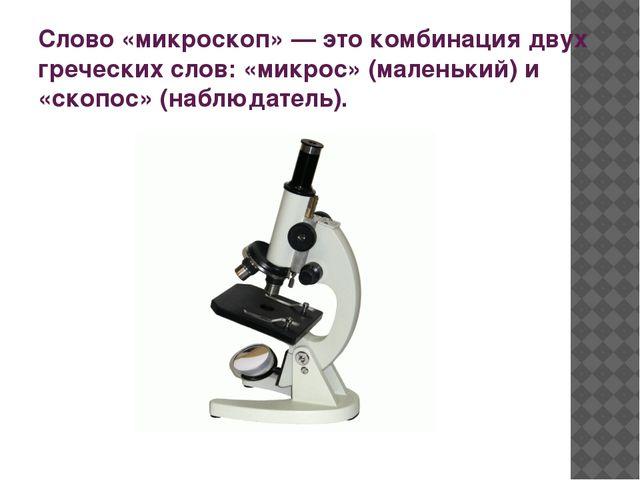 Слово «микроскоп» — это комбинация двух греческих слов: «микрос» (маленький)...