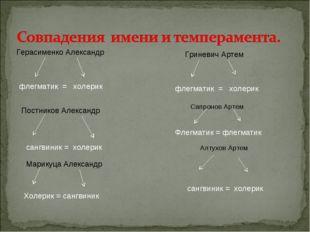 Герасименко Александр флегматик = холерик Постников Александр сангвиник = хол