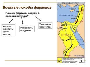 Военные походы фараонов Почему фараоны ходили в военные походы? Хотели укрепи