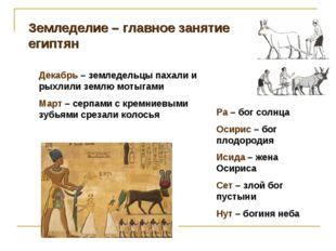 Земледелие – главное занятие египтян Декабрь – земледельцы пахали и рыхлили з