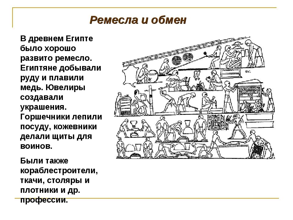 Ремесла и обмен В древнем Египте было хорошо развито ремесло. Египтяне добыва...