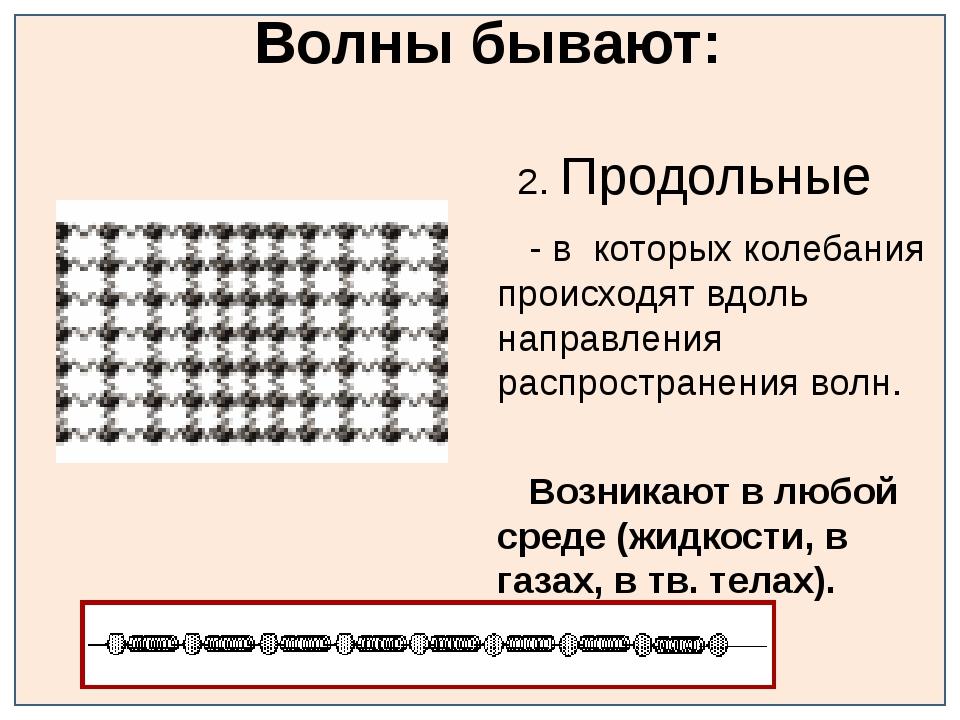 Волны бывают: 2. Продольные - в которых колебания происходят вдоль направлен...