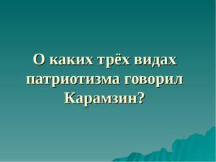 О каких трёх видах патриотизма говорил Карамзин?