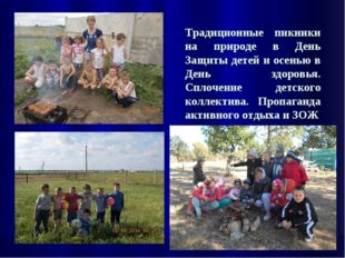 Традиционные пикники на природе в День Защиты детей и осенью в День здоровья.